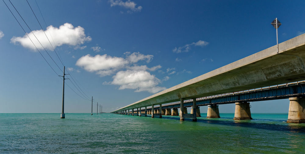 Low angle view of bridge over sea against sky