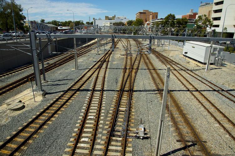 Public Railway Tracks Perth Australia City Track Railroad Track Rail Transportation Railway