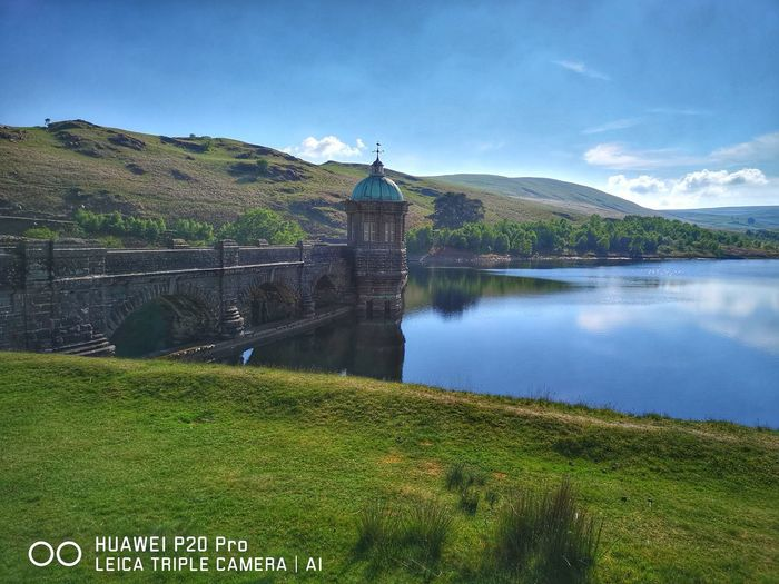Elan Valley Mid Wales Water Rural Scene Lake Mountain Reflection Sky Architecture Grass Landscape
