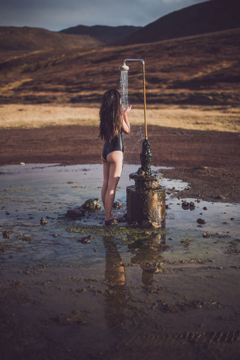 greatest outdoor shower of all time :) Friends Girl Iceland Long Hair Nature Nature One Person Outdoors Shower Water