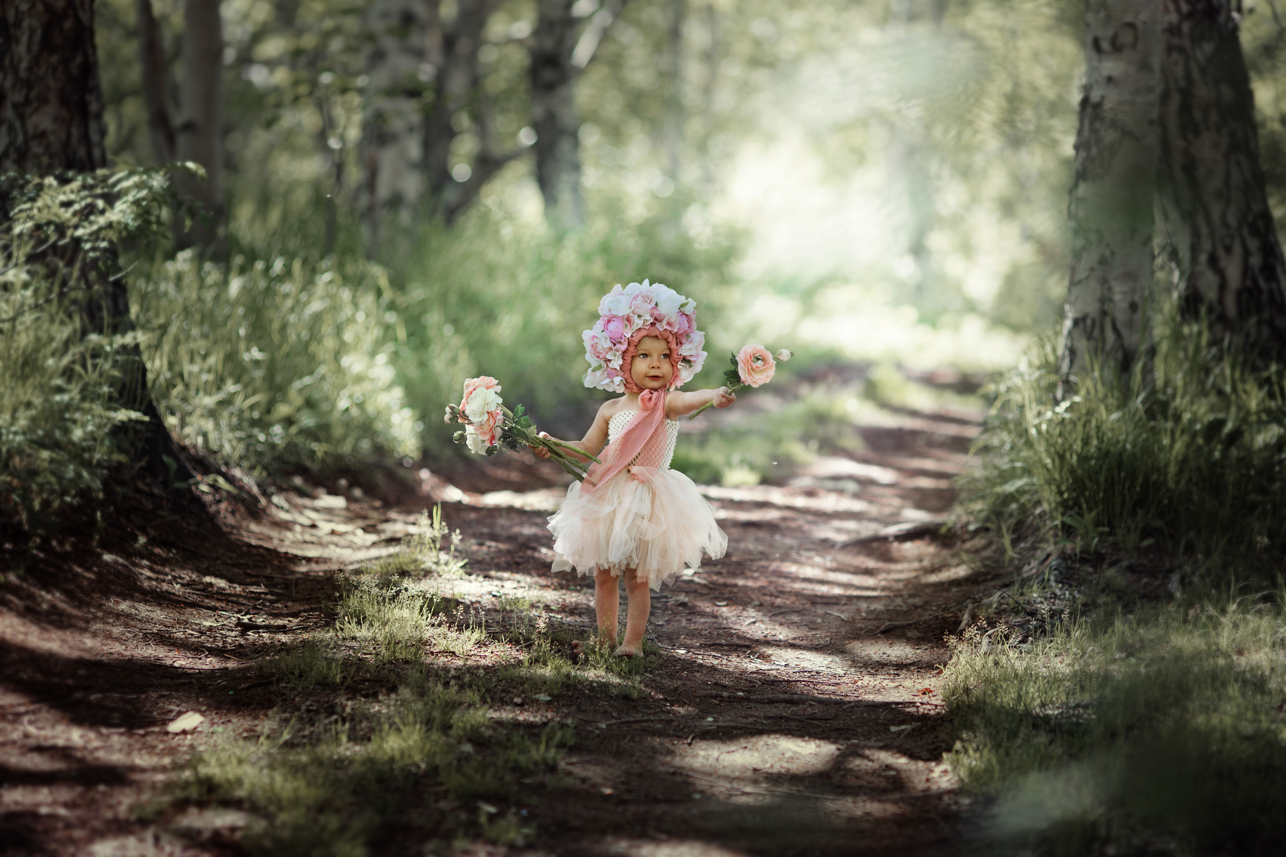 plant, childhood, child, tree, innocence, nature, one person, offspring, forest, full length, selective focus, emotion, day, dress, clothing, land, celebration, outdoors, bouquet, flower arrangement