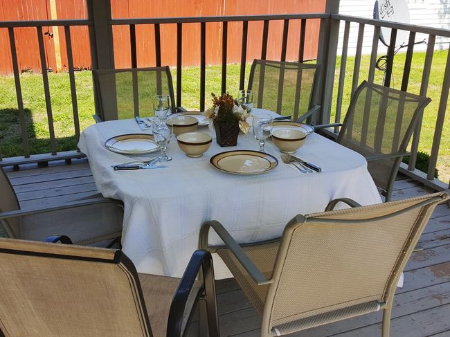 No People Food Outdoors Day Chair Summer Vacations Tourism Table Setting Tables And Chairs Place Settings Decorations