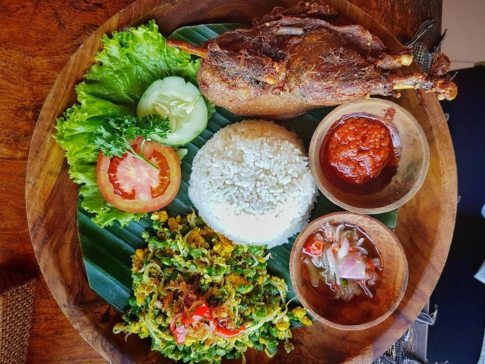 Directly Above View Of Fresh Meal Served In Plate On Table