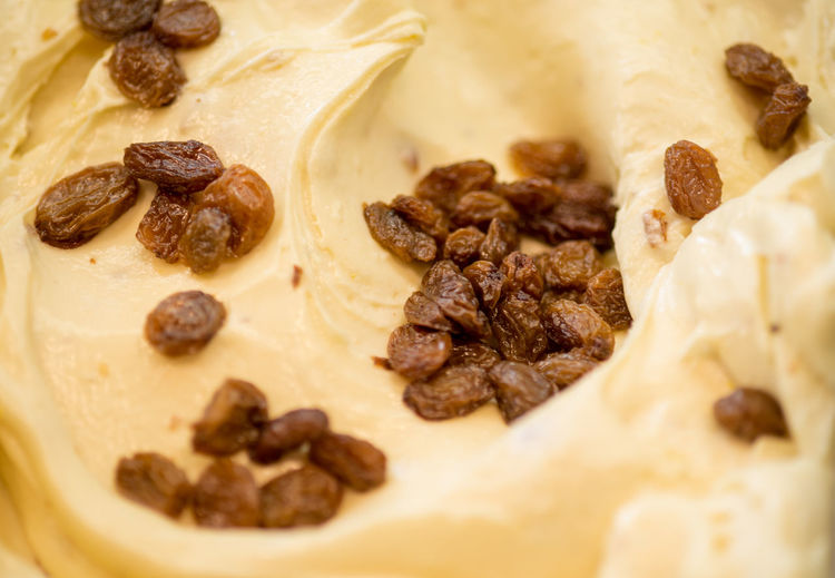 Detail shot of raisins in ice cream