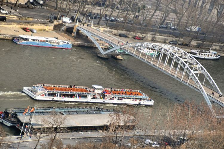 Aerial View High Angle View Transportation Sand Nautical Vessel Day Beach Outdoors Architecture Water No People View From Paris Eiffel Tower Aerial Panorama Siene River Paris, France