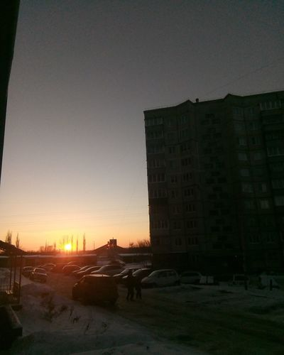 View From The Window... Snow Winter Sunset Evening Sky Built Structure Cold Temperature Snow Covered Season