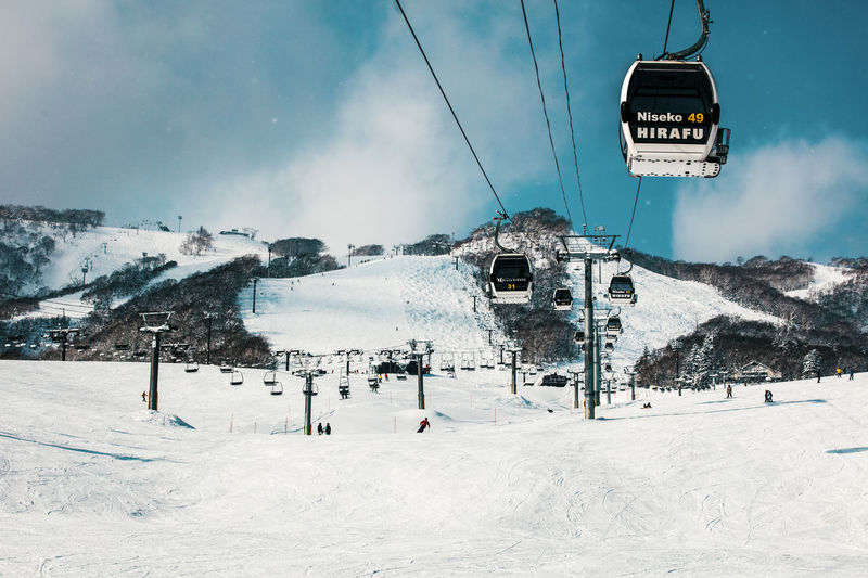 Overhead cable cars over snow covered landscape against sky
