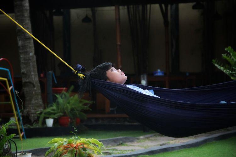 Rear view of boy sleeping on plant