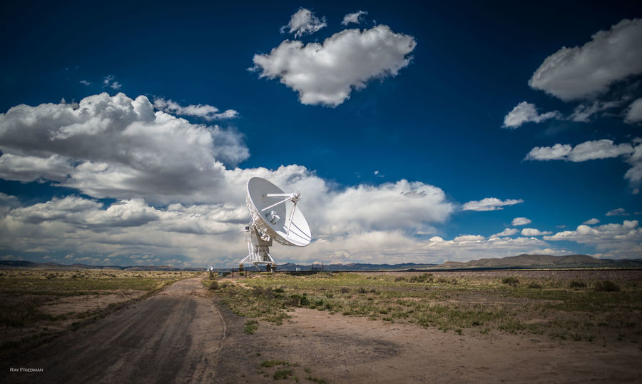 Blue Cloud Cloud - Sky Cloudy Day Farm Field Grass Land Vehicle Landscape Mode Of Transport Nature Radar Road Rural Scene Sky Tranquil Scene Tranquility Transportation Very Large Array Vla
