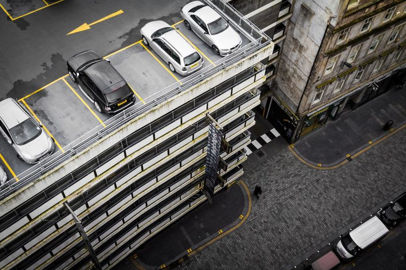 High Angle View Of Cars In Parking Garage