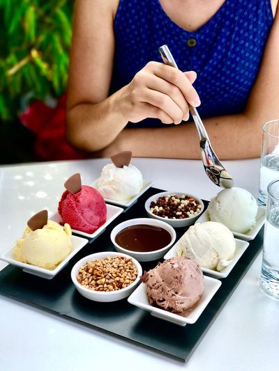 Food Food And Drink Bowl Plate Table Sitting Real People Healthy Eating Freshness One Person Women Lifestyles Fruit Indoors  Human Hand Ready-to-eat Day Adult People Ice Cream Desert Delucious