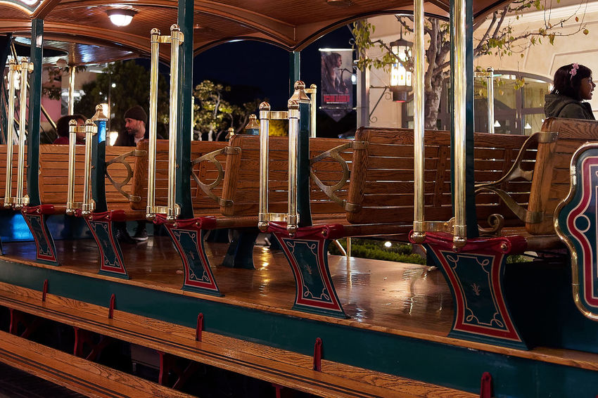 Tram Carousel Illuminated Men Night Outdoors Real People
