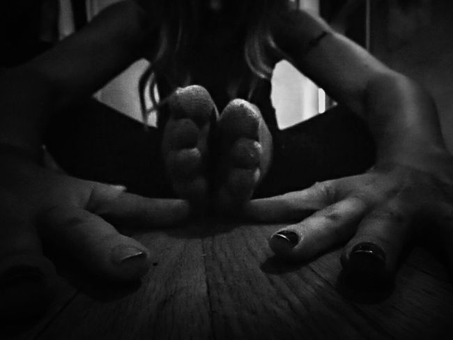 what can I say I like weird photos ..or I'm weird...either way :D Adult Arms Black And White Close-up Differential Focus Fingers Hair Human Body Part Human Hand Indoors  One Person Perspective Photography Strange Toes Woman