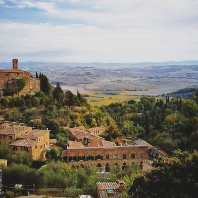 Aerial View City Outdoors Landscape Community Architecture Building Exterior No People Tree Day Cityscape Sky Montalcino Tuscany Tuscany Countryside Tuscany Italy Italy Wine Tuscany Landscape Castle Brunellodimontalcino