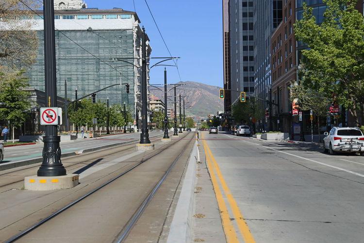 Downtown Train Rail Lightrail Street Daytime Outside Urban Landscape Taken By M. Leith Full Frame