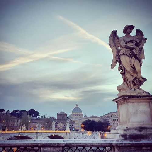 Roma Art And Craft Sky Architecture City Statue Travel Destinations Cityscape Cloud - Sky Sculpture No People Outdoors Day Italia Vaticano Da Ponte Sant'angelo First Eyeem Photo