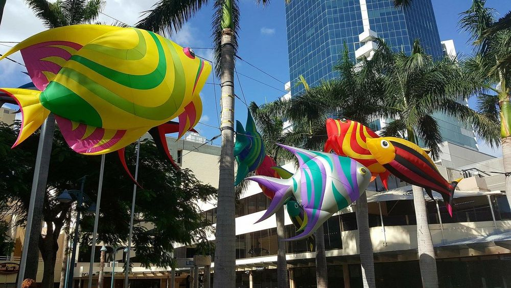Balloons Building Story Built Structure Celebration Colorful Day Festival Season Fish Floating Fish Helium Balloon Low Angle View Multi Colored No People Objects Outdoors Palm Trees Surfers Paradise, Australia