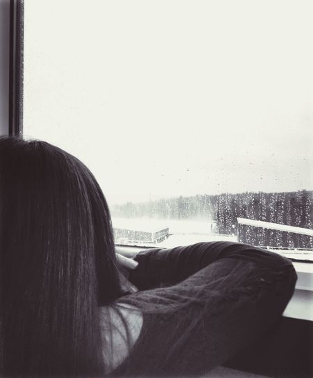 Watching ur life go by before ur eyes Window Indoors  One Person Looking Through Window Day Water Clear Sky Real People Close-up