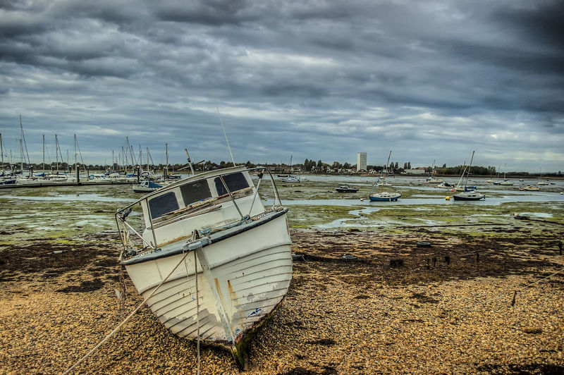 Eastney boat Sea Water Beach Boat Sky Marine Life Eastney Harbour Hampshire  England Water Nautical Vessel Sea Beach Sand Low Tide Sky Cloud - Sky