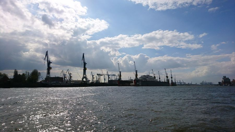 The port of Hamburg. · Hamburg Germany Hh 040 Hansestadt Hamburg Hamburgmeineperle Hanseatic Port Harbor Elbe Elbe River River Waterfront Cranes Logistics Clouds Clouds And Sky Blue Sky Sun Summer Is Coming✌