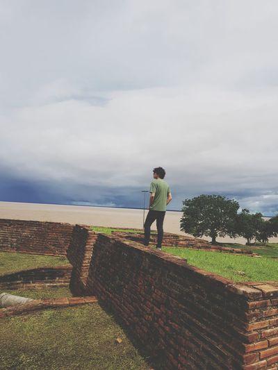 Fort Macapá Horizon Over Water Full Length Men Standing Sky Cloud - Sky