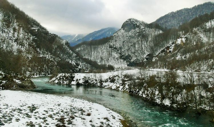 Green river from KPJ Beauty In Nature Cold Temperature Day Iceberg Idyllic Lake Landscape Mountain Mountain Range Nature No People Outdoors Scenics Sky Snow Tranquil Scene Tranquility Tree Water Winter