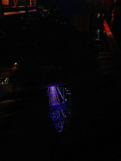 Night Outdoors No People Ferris Wheel Seattle Skyline Seattle, Washington Rainy Days N Rainy Nights Low Angle View Purple Blue Reflection Boardwalk Puddle