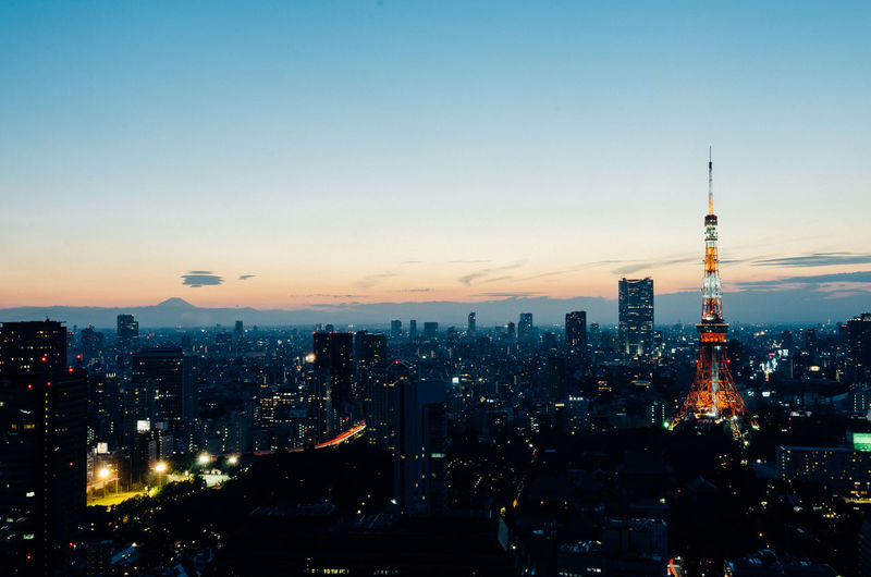 Fuji Mountain Tokyo Tower Architecture Building Exterior Built Structure City Cityscape Illuminated Modern Nature Night No People Outdoors Sky Skyscraper Sunset Tall - High Tower Travel Destinations Urban Skyline