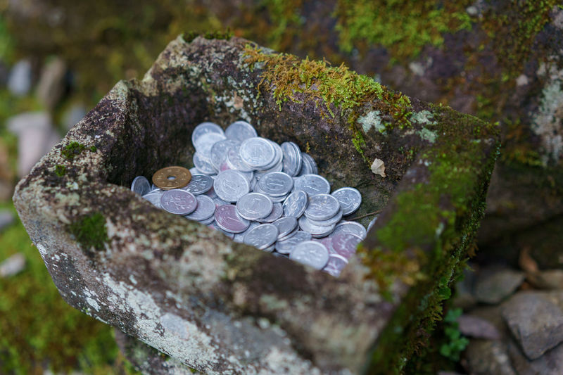 Coins left as offerings at Jizo Statues in Nikko, Japan. Japan Japanese  Japanese Culture Jizo Moss & Lichen Nikko Tochigi Buddhism Close-up Coin Coins Japanese Yen Moss No People Offerings Outdoors Rock - Object Tochigi Prefecture Yen Yen Coins