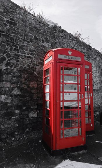 Postcode Postcards Old-fashioned Telephone Booth Retro Styled Communication Telephone Red Technology Pay Phone Travel Destinations Connected By Travel