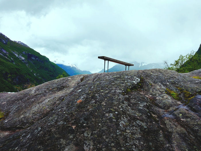 Beauty In Nature Bench Cloud - Sky Day Geiranger Geirangerfjord High Landscape Low Angle View Mountain Nature No People Outdoors Peak Scenics Silence Sky Tranquil Scene Tranquility