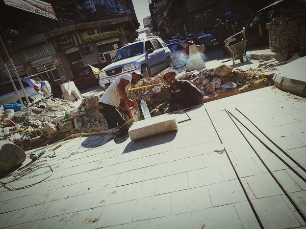 Shadow Sunlight Development Person Stone Material Work Workers Smoking City Life Signboard Lebanon Baalbek Road