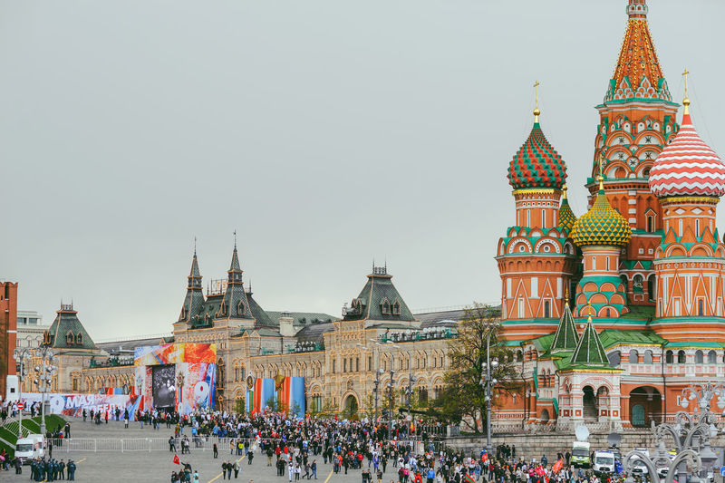 Victory Day in Moscow, Russia, 2017 Architecture Building Exterior Built Structure Clear Sky Crowd Day Holidays Large Group Of People Lifestyles May 9 Outdoors People Place Of Worship Real People Red Square Religion Sky Spirituality Tourism Travel Destinations The Photojournalist - 2017 EyeEm Awards