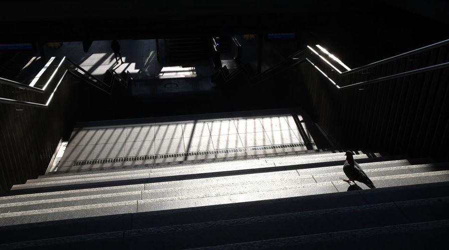 High angle view of bright subway