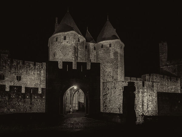 Carcassonne MedievalTown Sepia Toned Ancient Arch Architecture Building Exterior Built Structure Castle History Medieval Architecture Monochrome Monochrome Photography Night Outdoors Sepia Spirituality The Past Travel Destinations