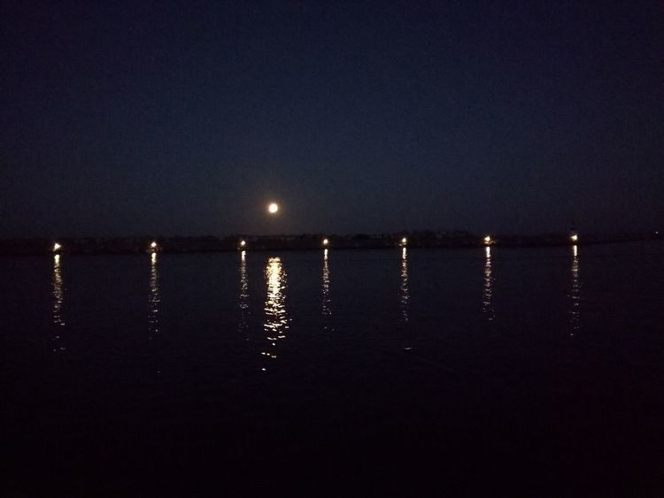 Night Moon Water Sea No People Nature Outdoors Illuminated Sky Beauty In Nature Clear Sky Astronomy