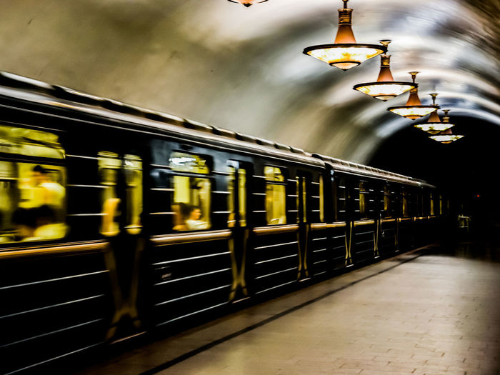 Moscow Blurred Motion Illuminated Indoors  Mode Of Transport Motion Night No People Public Transportation Rail Transportation Railroad Station Railroad Station Platform Subway Train Train - Vehicle Transportation Travel