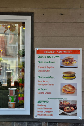 Sandwich menu without prices on a drive through restaurant external wall. Fast Food Menu Close-up Day Drive Up Window Food Food And Drink Freshness Healthy Eating No People Outdoors Ready-to-eat Text Variation