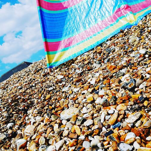Windbreak Beach Hayling Island  Multi Colored Beach Sunlight Sky Close-up Pebble Beach Pebble Stone Colorful Coast