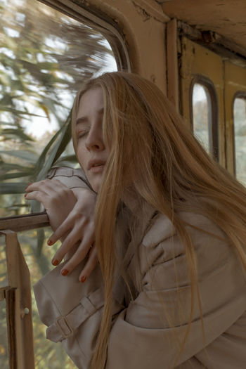 Go far TheWeekOnEyeEM The Week on EyeEm Long Hair Young Women Real People Lifestyles Blond Hair Leisure Activity Beauty Beautiful Woman Tram Tramway Trolleybus Public Transport Autumn Mood