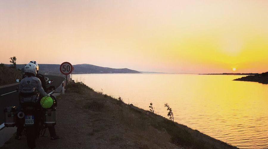 Sunset Scenics Ontheroad Kawasakilonerider BestRoadTrip Croatia Croatiafulloflife Sea Horizon Over Water Croatian Landscape Biker Life Clear Sky