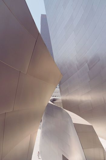Curvilinear surfaces Architecture Modern Built Structure Building Exterior No People Day Low Angle View Skyscraper City Outdoors Close-up Sky Disneyconcerthall Los Angeles, California Sheetmetal Metal Titanium Frank Gehry