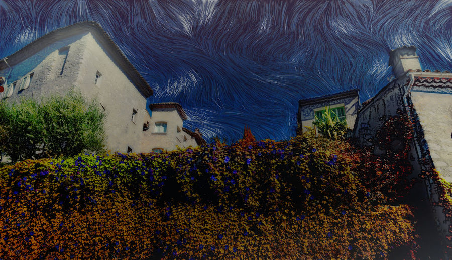 France Provence De,Vence Houses,white,afternoon, Impressionism Of Silky Sries