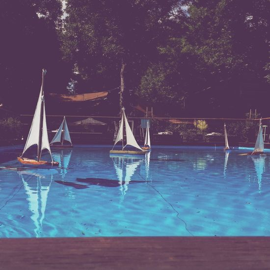 Sailboats in swimming pool against trees