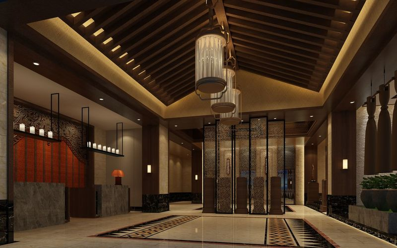 3d render of luxury hotel entrance Desk Entrance Halloween Reception Chandelier Furniture Hotel Hotel View Information Desk Interior Lamp Light And Shadow Lobby Lobby Hotel Rendering