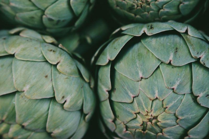 Full frame shot of green artichokes