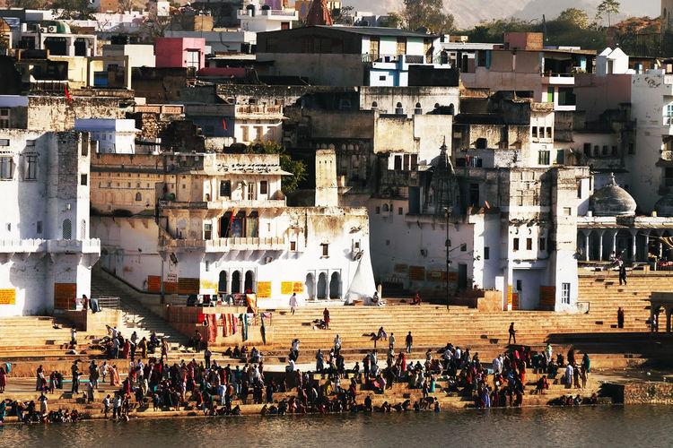 Pilgrims At Pushkar Lake On Sunny Day