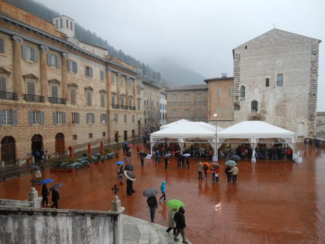 Building Exterior City Life Foggy Morning Main Square Marketplace Open Space Rainy Day Red Floor Streetphotography Travel Destinations
