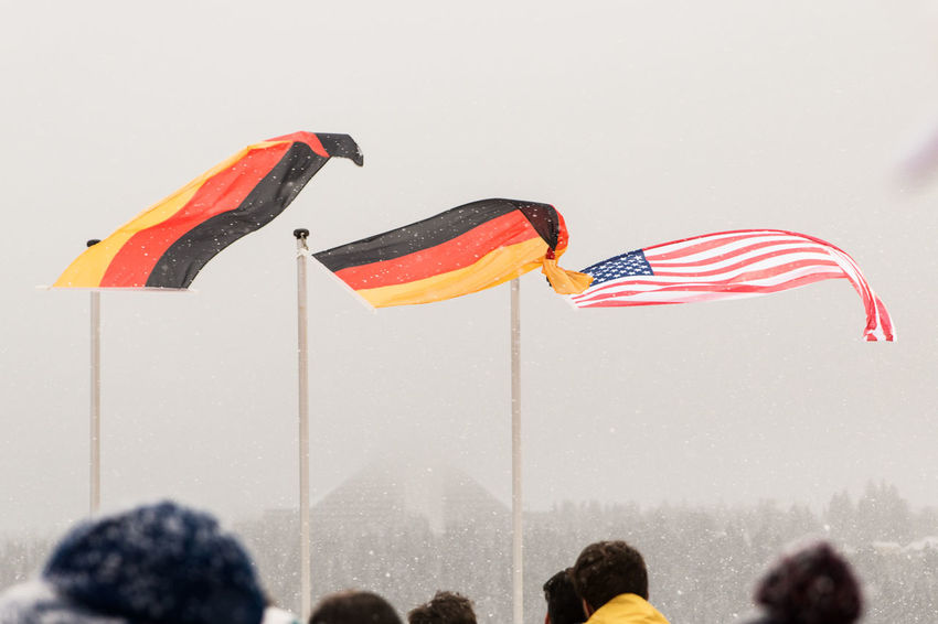 Flags at the award ceremony at Luge World Cup Oberhof 2016 Award Ceremony Flag Flags Germany Luge Oberhof Outdoors USA Worldcup Snowing ❄