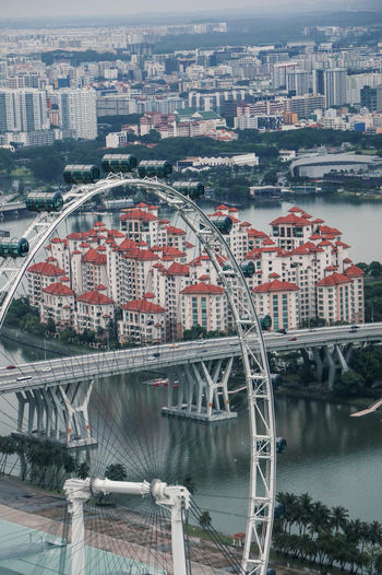 Ferris Wheel By River In City